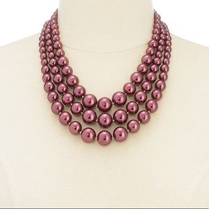 FAUX PEARL THREE-ROW COLLAR NECKLACE